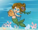 Sirena con caracola y perlas