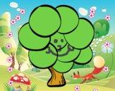Dibujo Árbol con hojas redondas pintado por nalia