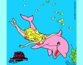 Dibujo Barbie y delfín pintado por luisanick
