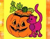 Dibujo Calabaza y gato pintado por esmelu