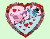 Dibujo Corazón con pájaros pintado por queyla