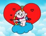 Dibujo Cupido y corazón pintado por queyla