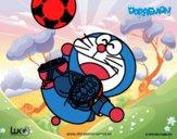 Dibujo Doraemon futbolista pintado por Jaramill