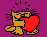 Dibujo El gato y el corazón pintado por Yeric12