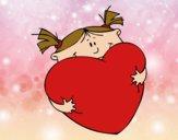 Dibujo Niña y corazón pintado por queyla