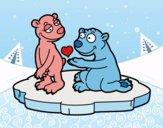 Dibujo Pareja de osos enamorados pintado por queyla