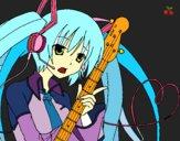 Dibujo Miku con guitarra pintado por azulcita