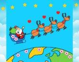 Dibujo Papa Noel repartiendo regalos 3 pintado por LunaLunita