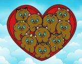 Corazón de gatitos
