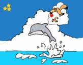 Dibujo Delfín y gaviota pintado por LunaLunita