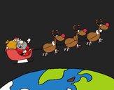 Dibujo Papa Noel repartiendo regalos 3 pintado por Potte