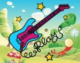 Dibujo Guitarra y estrellas pintado por lapopis
