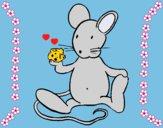 Dibujo Rata con queso pintado por LunaLunita