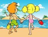Dibujo Niña y niño en la playa pintado por andymely