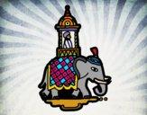Dibujo Taxi-elefante pintado por queyla