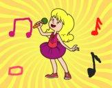 Estrella del pop cantando