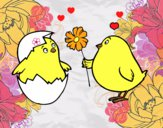 Dibujo Pollitos enamorados pintado por LunaLunita