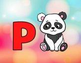 Dibujo P de Panda pintado por meibol