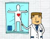 Dibujo Médico explicando pintado por AitanaPR