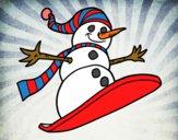 Dibujo Muñeco de nieve en tabla pintado por dulceth_07