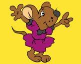Dibujo Rata con vestido pintado por linda423