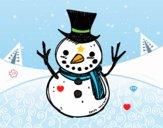 Un muñeco de nieve con sombrero