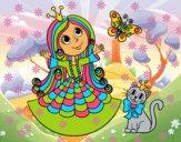 Princesa con gato y mariposa