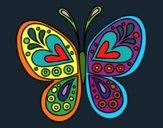 Dibujo Mandala mariposa pintado por buba