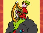 Duende tocando el arpa