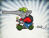 Elefante en moto
