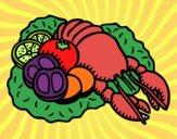 Dibujo Langosta con verduras pintado por sara_132