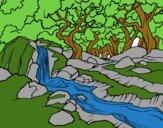 Dibujo Paisaje de bosque con un río pintado por isimar