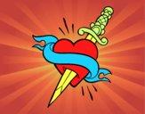 Tatuaje de corazón y puñal