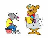 Doctor y paciente ratón