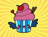 Cupcake kawaii con cereza