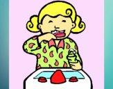 Dibujo Niña cepillándose los dientes pintado por Michellinh