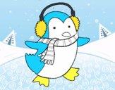 Dibujo Pingüino con bufanda pintado por simonocho