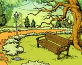Dibujo Paisaje de parque pintado por mucho