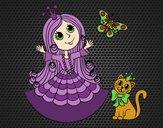 Dibujo Princesa con gato y mariposa pintado por amalia