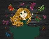 Dibujo Princesa de las mariposas pintado por amalia