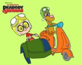 Dibujo Mr Peabody y Sherman en moto pintado por nicobelly