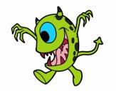 Dibujo Monstruo con un ojo pintado por perlitamm