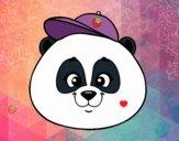 Cara de oso panda con gorro