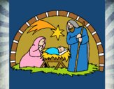 Dibujo Pesebre de navidad pintado por Navida