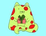 Dibujo Gato con un regalo pintado por dandanhooo