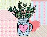 Dibujo Bote con flores silvestres y un corazón pintado por Jovanna_na
