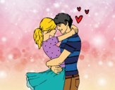 Dibujo Pareja enamorada pintado por yussette