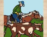 Dibujo Vaquero y vaca pintado por JOSEMG