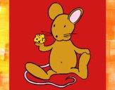 Dibujo Rata con queso pintado por meibol