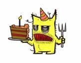 Dibujo Monstruo con tarta de cumpleaños pintado por Joaninha